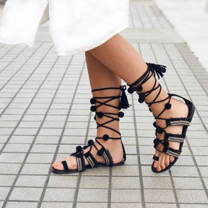 Raxia flat lace up sandals